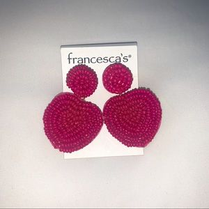 Francescas Hot Pink Beaded Earrings Brand New